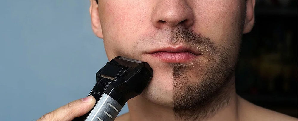 Trim Mustache with an Electric Shaver